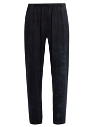 Raquel Allegra Slim Leg Tie Dye Silk Trousers Navy Multi