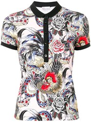 Red Valentino Tattoo Print Polo Top Pink