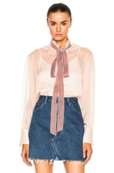 See By Chloe Tie Neck Blouse In Neutrals Pink Neutrals Pink
