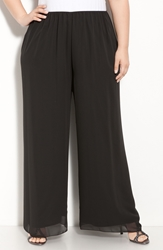 Alex Evenings Chiffon Palazzo Pants Plus Size Black