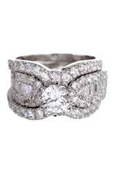 Savvy Cie Rhodium Plated Sterling Silver Baguette Cz Wedding Ring Set Metallic