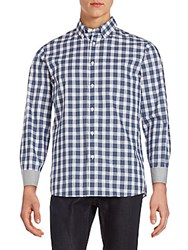 Michael Kors Classic Fit Checked Cotton Button Down Shirt Chambray
