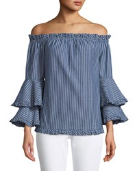 5Twelve Off The Shoulder Double Ruffle Cuff Blouse Blue White