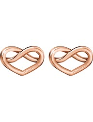 Calvin Klein Charming Rose Gold Tone Knotted Heart Earrings