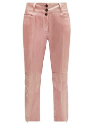 Ann Demeulemeester Yana Zipped Cuff Satin Motorbike Trousers Light Pink