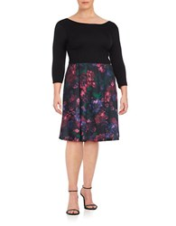 Modamix Plus Three Quarter Sleeve Floral Print Fit And Flare Dress Black Purple