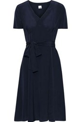 Iris And Ink Woman Siv Belted Washed Silk Dress Navy