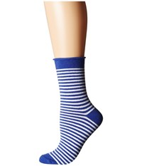 Plush Thin Rolled Fleece Socks Cobalt Stripe Women's Crew Cut Socks Shoes Blue