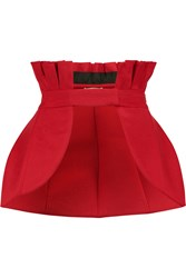Natasha Zinko Cotton Blend Faille Peplum Waist Belt Red