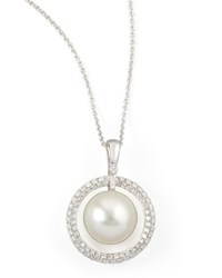 White South Sea Pearl And Diamond Halo Necklace 0.72Ct Eli Jewels Blue