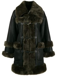 Urbancode Shearling Trimmed Coat Black
