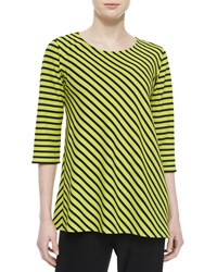 Caroline Rose 3 4 Sleeve Asymmetric Striped Tunic Lime Black