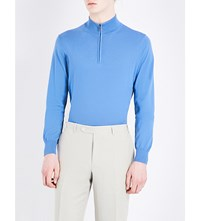 Canali Zip Collar Knitted Jumper Mid Blue