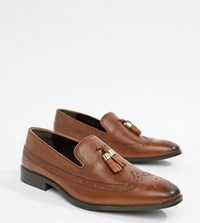 Asos Wide Fit Brogue Loafers In Tan Leather With Gold Tassel Detail