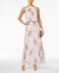 Msk Pleated Floral Print A Line Gown Peach Grey