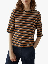 Toast Half Sleeve Stripe T Shirt Ginger Navy