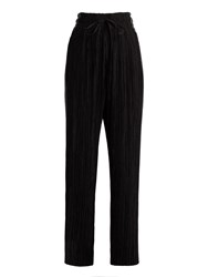 Haider Ackermann Canis Contrast Panel Wide Leg Pleated Trousers Black Silver