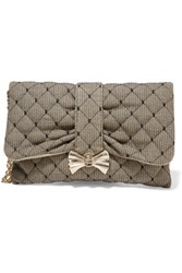 Red Valentino Redvalentino Quilted Point D'espirit And Canvas Clutch Black