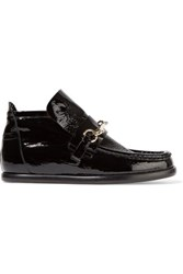 Acne Studios Kerin Buckle Detailed Patent Leather Loafers Black