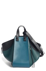 Loewe Small Hammock Tricolor Pebbled Leather Hobo Blue Petroleum Blue Cypress