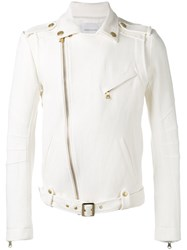 Balmain Pierre Belted Biker Jacket Men Cotton Linen Flax Viscose 50 White