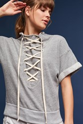 Anthropologie Lace Up Sweatshirt Grey