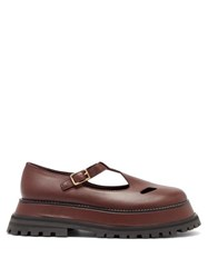 Burberry Aldwych Flatform Leather Dolly Loafers Burgundy
