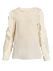 See By Chloe Ruffle Trimmed Silk Blouse Cream