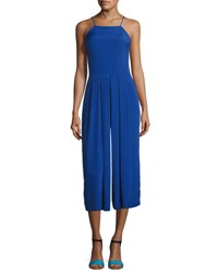 1.State Pleated Leg Sleeveless Cropped Jumpsuit Blue