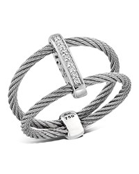 Alor Double Cable Ring With Diamonds Gray