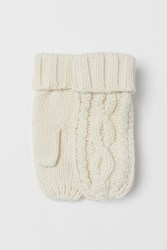 Handm H M Cable Knit Mittens White