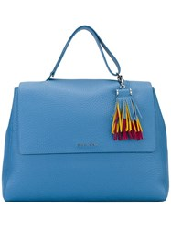 Orciani Fringed Detail Tote Blue