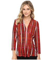 Catherine Malandrino Printed Inverted Pleat Top Reptile Plaid Women's Blouse Red