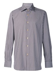 Kiton Checked Button Down Shirt Brown
