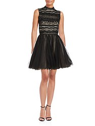 Alice Olivia Taya Contrast Fit And Flare Dress Black Nude