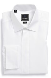 Men's David Donahue Trim Fit French Cuff Tuxedo Shirt White