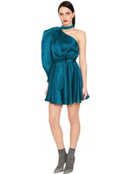 Daniele Carlotta One Shoulder Hammered Silk Satin Dress