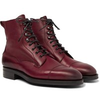 Edward Green Galway Cap Toe Textured Leather Boots Burgundy