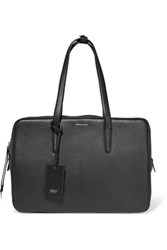 Agnona East West Suede Paneled Textured Leather Tote Black
