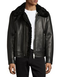 Burberry Lambskin And Shearling Aviator Jacket Black