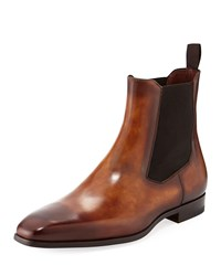 Magnanni Calfskin Leather Chelsea Boot Brown