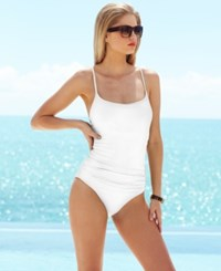 Anne Cole Classic Ruched One Piece Swimsuit Women's Swimsuit White