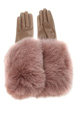 Paule Ka Leather Gloves With Fox Fur Cuff Pink