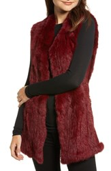Love Token Genuine Rabbit Fur And Knit Vest Burgundy