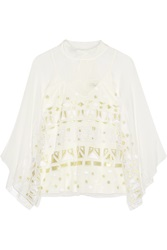 Temperley London Sura Embroidered Tulle And Silk Blend Chiffon Top