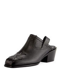 Laurence Dacade Nature Stitched Leather Pull On Mule Black