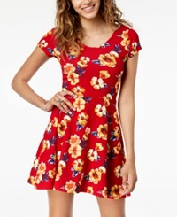 Planet Gold Juniors' Printed Double Scoop Skater Dress Racing Red Combo