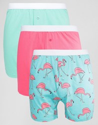 Asos Jersey Boxers With Flamingo Print 3 Pack Save Multi