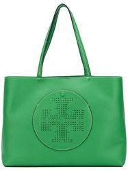 Tory Burch Perforated Logo Tote Green