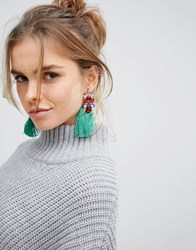 Glamorous Green Jewelled Tassel Statement Earrings